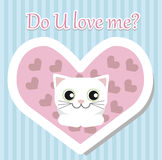 White cat lies and looks for Valentines day Royalty Free Stock Photos