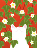 White cat looks up. A white cat is looking up amongst the flowers royalty free illustration