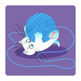 White cat playing with ball of yarn. White cat or kitten is playing with a blue ball of yarn royalty free illustration