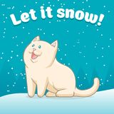 Let it snow!. White cat rejoices in the first snow Stock Photos