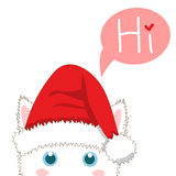 White Cat with Santa Hat Sneaking. Greeting Card Christmas Day. Vector Illustration. Stock Photo