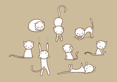 White cat set. Cute white doodle cats in different positions Royalty Free Stock Photography
