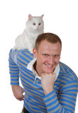 White cat sits on a shoulder at the  man Stock Images