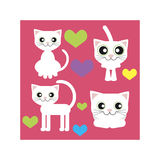 White cat sits stands lies and love. Of colorful vector icons set on pink background Royalty Free Stock Images