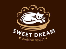 White cat sleeps on a bed pillow logo. Vector illustration, emblem design Royalty Free Stock Photos