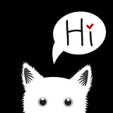 White Cat Sneaking Greeting Card. Vector Illustration Stock Photo