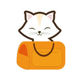 White cat stripes closed eyes yellow pet carrier traveling. Illustration eps 10 Royalty Free Stock Photography