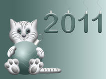 White cat symbol eastern chinese new 2011 year. With christmas ball Royalty Free Stock Images