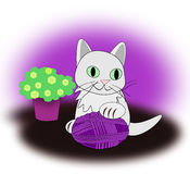 White Cat with Yarn  ball Royalty Free Stock Photos