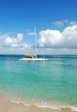 White Catamaran. Photo of white catamaran boat in the Caribbean Sea Royalty Free Stock Photography