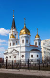White cathedral with golden domes Stock Photo