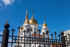 White cathedral with golden domes Stock Photography