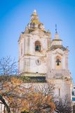 White cathedral Lagos Portugal. The two towers of a white cathedral Lagos Portugal Royalty Free Stock Image