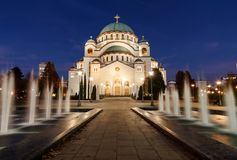White Cathedral of St. Sava and water fountain in Belgrade at evening, Serbia Royalty Free Stock Photography