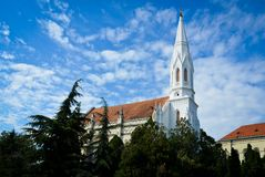 White Catholic cathedral on sunny day Royalty Free Stock Photos