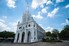 White Catholic Church in Thailand Royalty Free Stock Photography