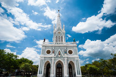 White Catholic Church in Thailand. White Catholic Church at Samut Songkharm, Thailand Royalty Free Stock Images