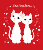 White cats couple. Vector cartoon illustration of two white cats sitting together and looking at each other. Greeting card for Valentine's day, wedding day Stock Photo