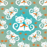 White cats seamless pattern Royalty Free Stock Image