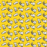 White cats on yellow font hand drawn seamless pattern stock illustration