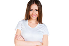 White caucasian Teen wearing a clean T-Shirt stock image