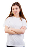 White caucasian Teen wearing a clean T-Shirt Stock Photos