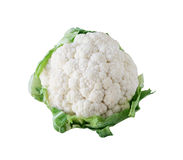 White Cauliflower. Head isolated on white Stock Photos