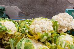 White cauliflower in a box for sale at Sineu market, Majorca Royalty Free Stock Images