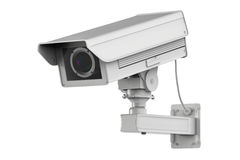 White cctv camera or security camera isolated on white Stock Images