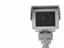 White cctv camera or security camera isolated on white Royalty Free Stock Photos
