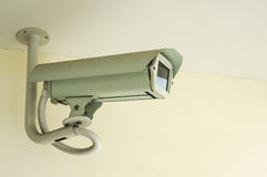 White CCTV security camera on ceiling background ,Closed-circuit television record activity peoples Stock Photography