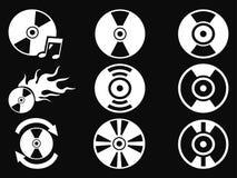 White CD icons on black background Royalty Free Stock Photo