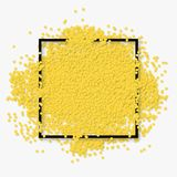 White celebration background with black frame and yellow round confetti. Realistic vector Illustration Royalty Free Stock Photo