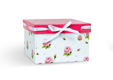 White celebratory box with a pink cap isolated on white background Stock Images