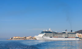 White Celebrity Equinox cruise ship in Ajaccio. Ajaccio, France - June 30, 2015: White Celebrity Equinox cruise ship moored in Ajaccio, Corsica. It is the second Royalty Free Stock Image