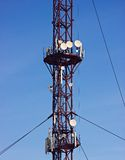 Cell antennas on the tower Royalty Free Stock Photography