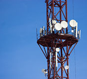 Cell antennas on the tower Stock Image