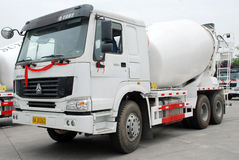 White Cement Mixer Truck. Cement Mixer Truck on the parking, in Sichua,China royalty free stock photography