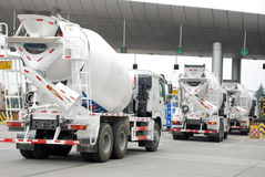 White Cement Mixer Truck Stock Photo