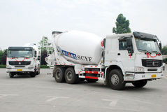 White Cement Mixer Truck. Cement Mixer Truck on the road, in Sichua,China royalty free stock photos
