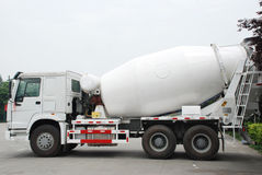 White Cement Mixer Truck. Cement Mixer Truck on the parking, in Sichua,China stock images