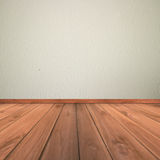 White cement plaster wall and wood floor Stock Image