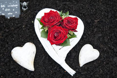 White Cemetery heart with Red Roses Royalty Free Stock Image