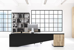 White CEO office, bookcase, table Royalty Free Stock Photography