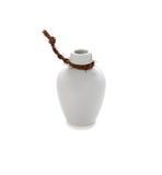 White ceramic bottle isolate on white background. White ceramic bottle on white background stock photo