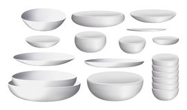 White ceramic bowl and dishes. A white ceramic bowl and dishes royalty free illustration