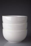 White ceramic bowls Royalty Free Stock Images