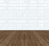 White Ceramic brick tile wall and wooden floor Stock Images