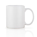 White Ceramic Coffee Cup Isolated on White Background. Royalty Free Stock Images