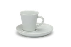 White ceramic coffee cup and white ceramic saucer Royalty Free Stock Images